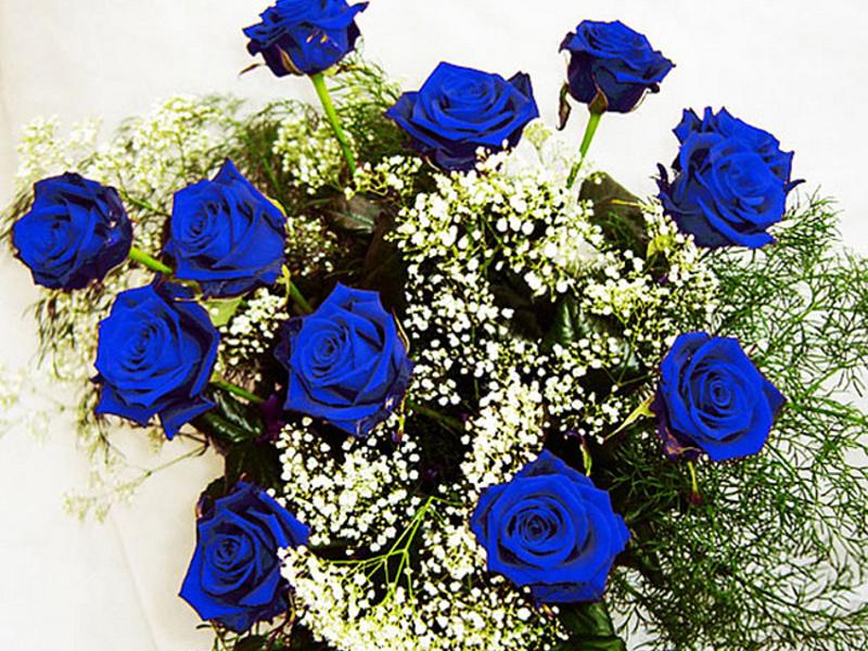 Открытка с синими розами 29